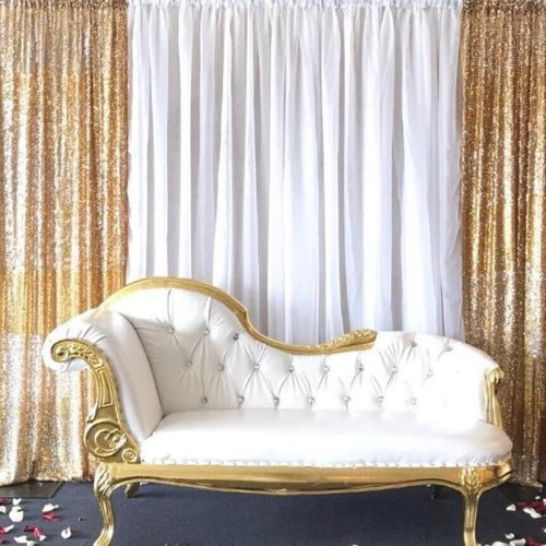 Backdrop Curtain - Sequin Gold with White Chiffon