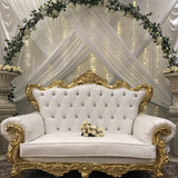 Two Seater Sofa - Gold and White