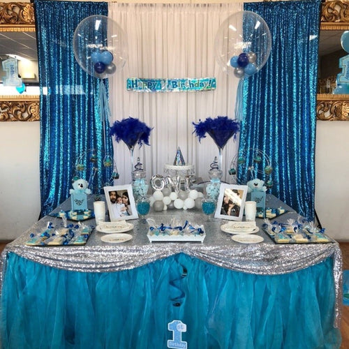 Backdrop Curtain - Aqua Sequin