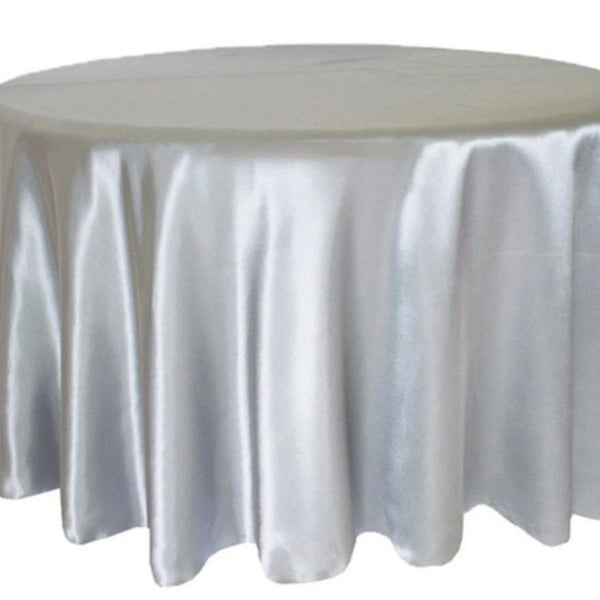 Silver satin round table cloth