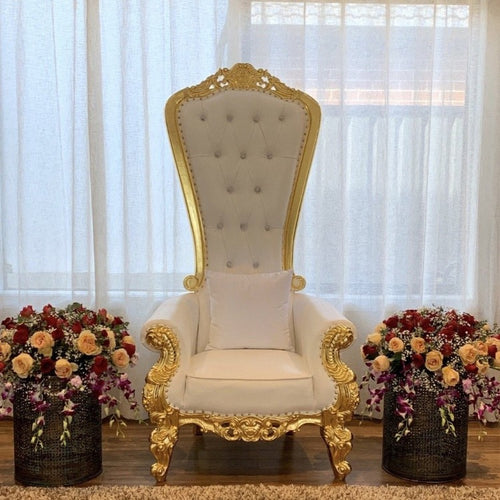 King throne Sofa - White and Gold