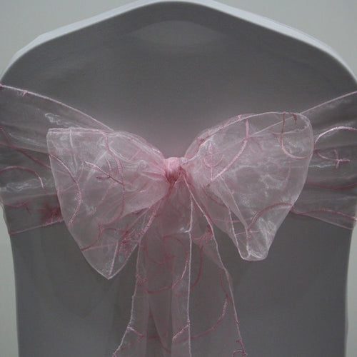 Organza Embroided Sash - Pink