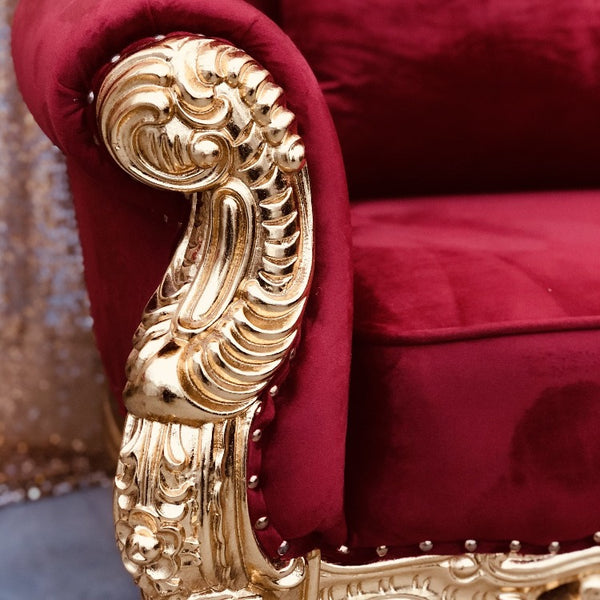 King Sofa - Red and Gold