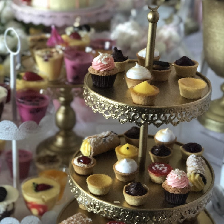Cupcake stand antique gold