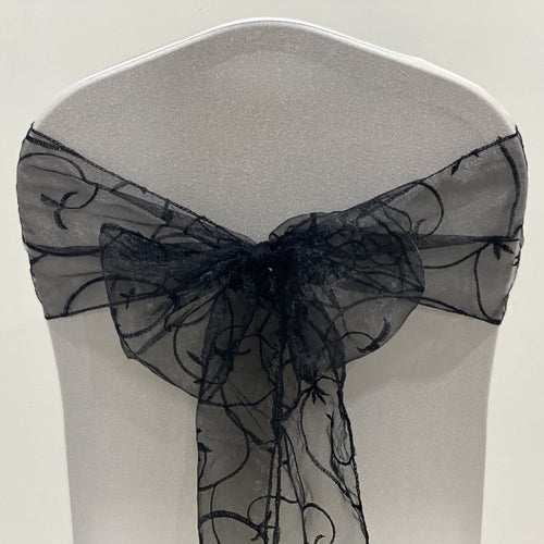 Organza Embroided Sash - Black