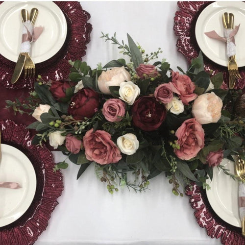 Floral arrangements -Maroon and Dusty Pink Package