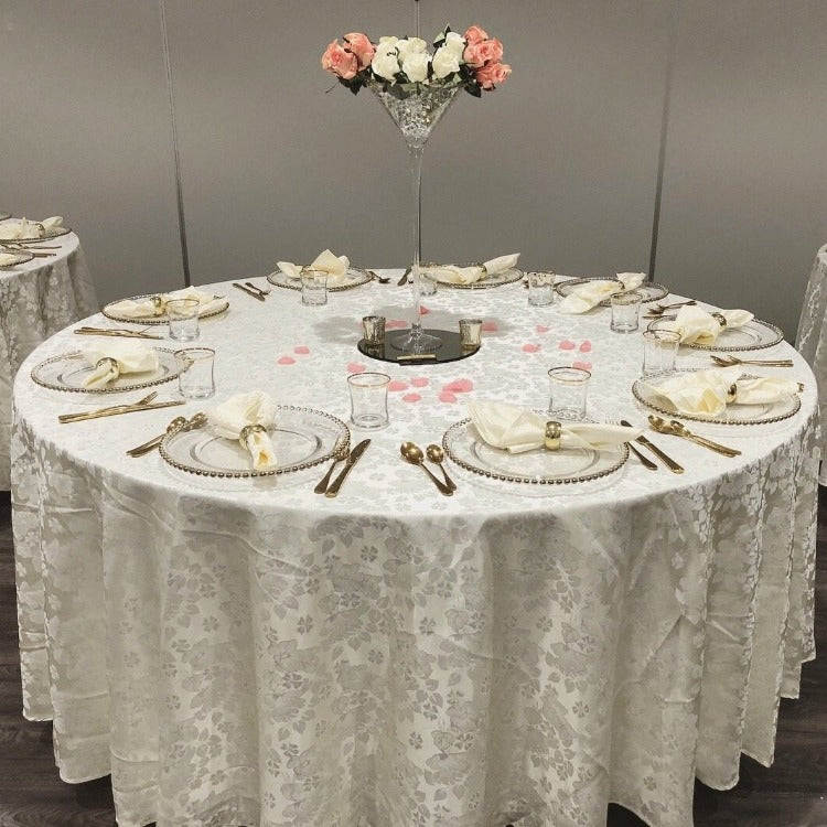 Tablecloth floral Damask round
