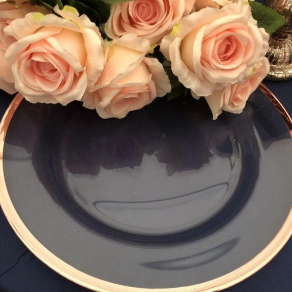 Charger plates- rimmed rose gold