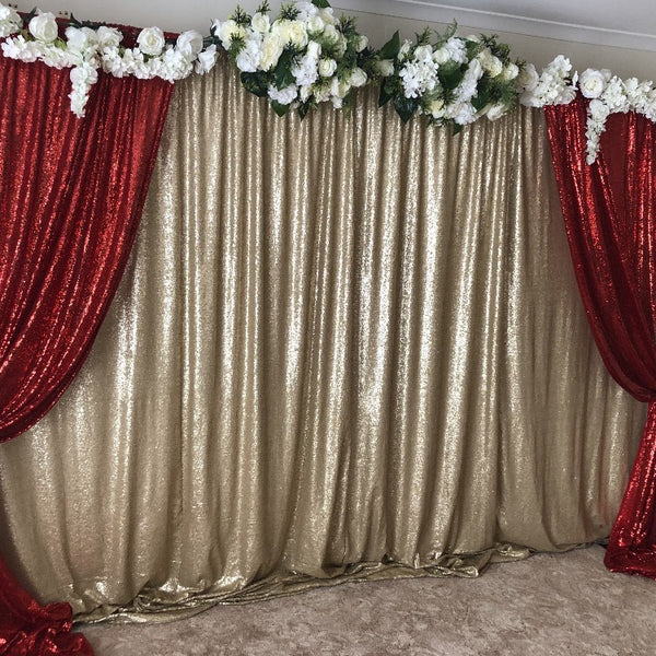 Backdrop Curtain - Floral Gold & Red