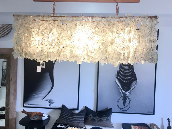 "LIGHTING - STEPHEN PIKUS ""FIRE+ICE"" RECYCLED GLASS CHANDELIER"