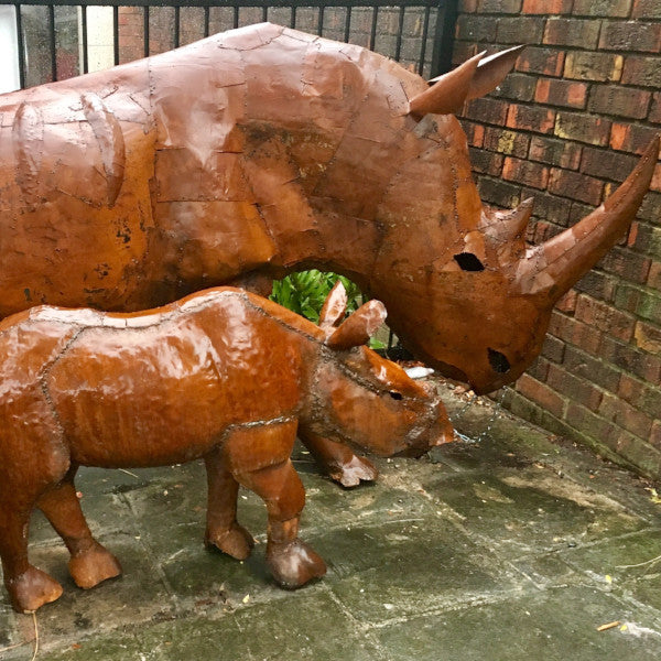 RHINO LIFESIZE METAL SCULPTURE