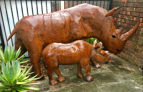 Petronella and Themba our life-size scrap metal sculptures handmade in South Africa