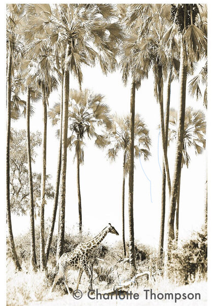 ARTWORK WILD AFRICA - GIRAFFE AMONGST PALMS