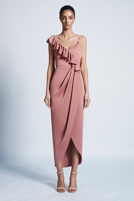 Shona Joy Luxe Asymmetrical Frill Rose