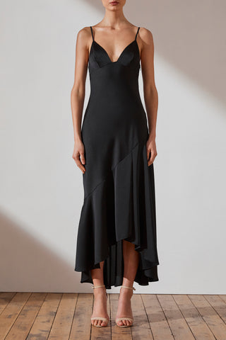 Shona Joy Luxe Bias Asymmetrical Frill Dress Jamie Onyx