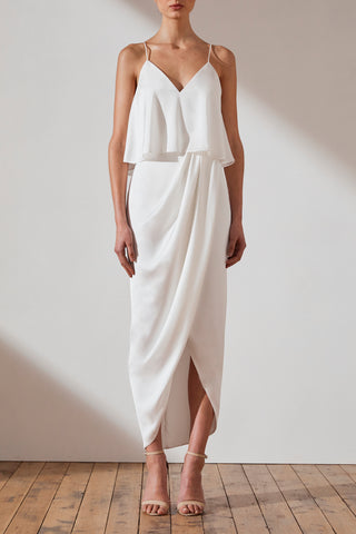 Shona Joy Luxe Draped Cocktail Frill Dress Tara Ivory