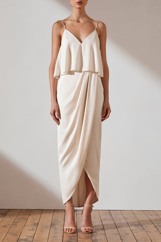Shona Joy Luxe Draped Cocktail Frill Dress Tara Creme