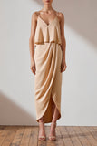 Shona Joy Luxe Draped Cocktail Frill Dress Tara Champagne