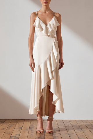 Shona Joy Luxe Bias Frill Wrap Dress Evie Creme