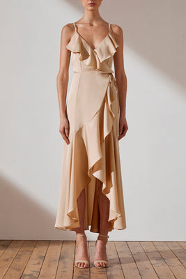 Shona Joy Luxe Bias Frill Wrap Dress Evie Champagne