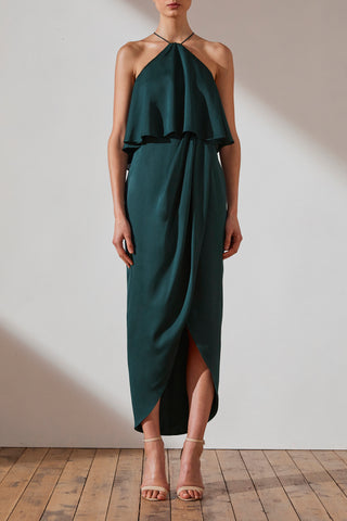 Shona Joy Luxe Halter Frill Cocktail Dress Quinn Emerald