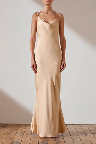 Shona Joy Luxe Bias Cowl Slip Dress Elise Champagne