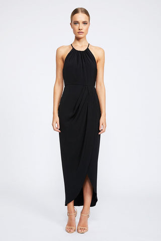 Shona Joy Core High Neck Ruched Black