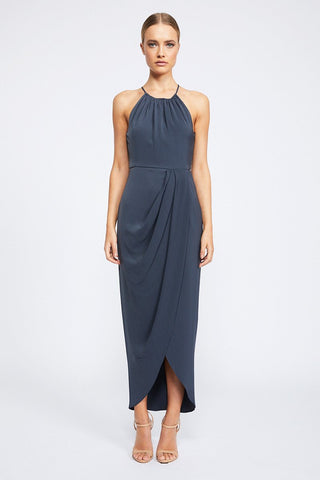 Shona Joy Core High Neck Ruched Charcoal