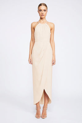 Shona Joy Core High Neck Ruched Nude