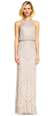 Adrianna Papell Silver Nude Bridesmaid Dress