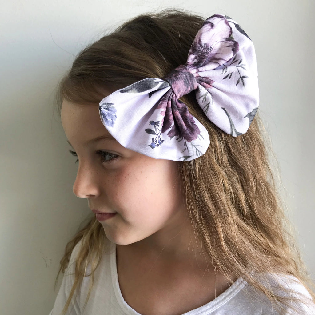 Hair Clip Botanical - White & Purple