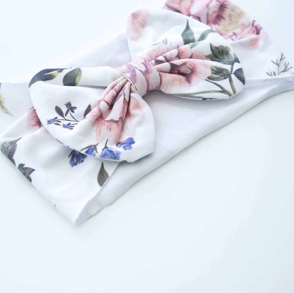 Botanical Bow Headbands - White & Purple