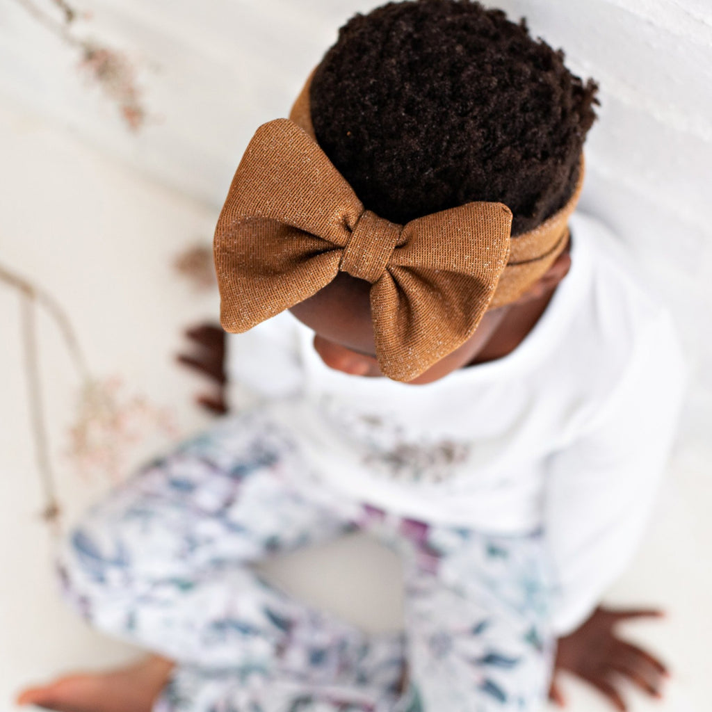 Metallic Brown Bow Headband
