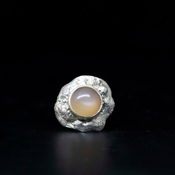 Peach Moonstone Boulder Ring