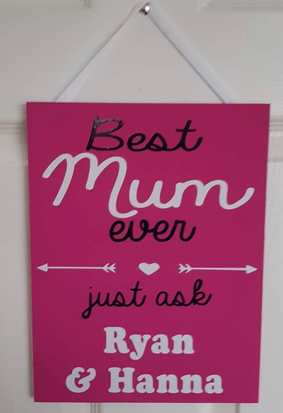 Best Mummy Ever sign