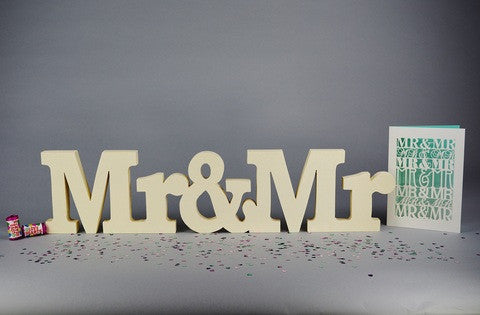 civil ceremony, gay wedding decoration and gift, Mr&Mr in cream