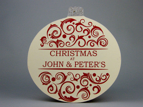 Oversized personalised Christmas bauble in cream and red