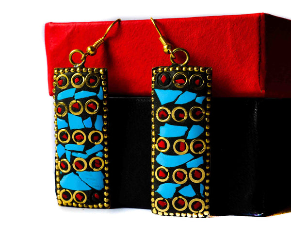 Blue and red-metal meenakari dangles