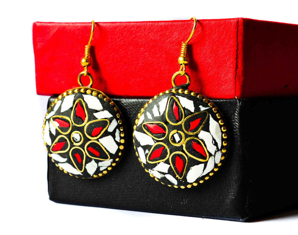 Bengali earrings2- metal meenakari dangles