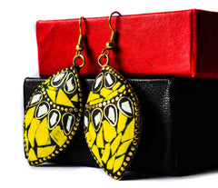 Bright yellow- metal meenakari dangles
