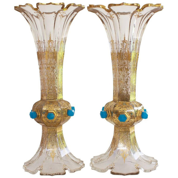 Pair of Flared Crystal Gilded Blown Vases