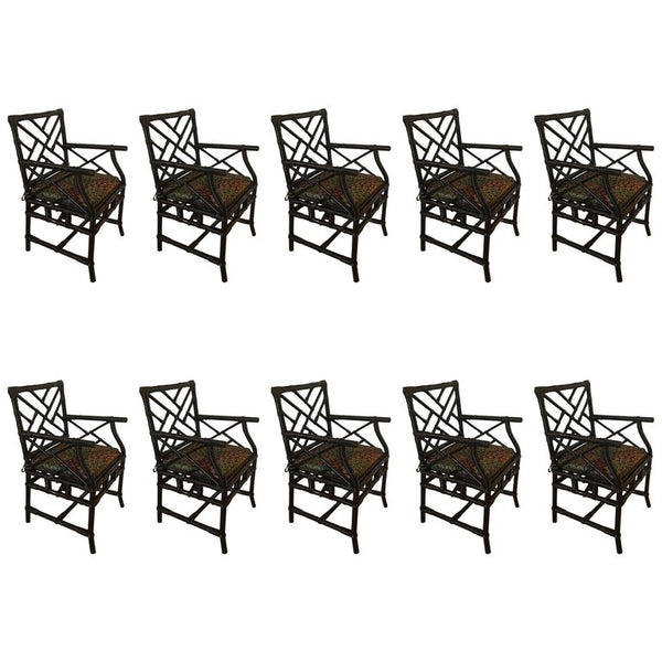 Set of Ten Bamboo Chairs by Galerie Maison et Jardin