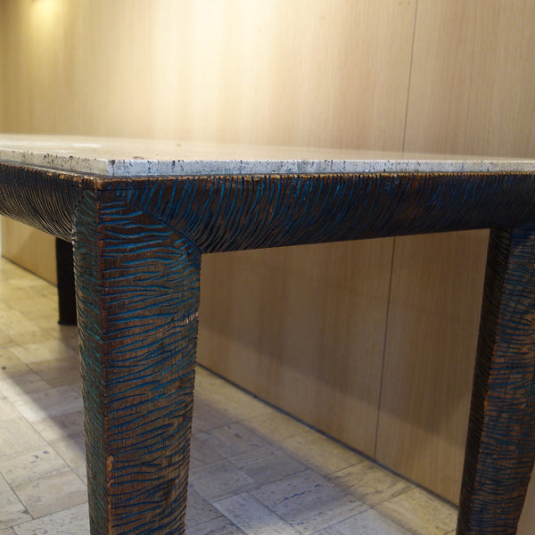 Travertine and Wood Dining Room Table by Osvaldo Borsani