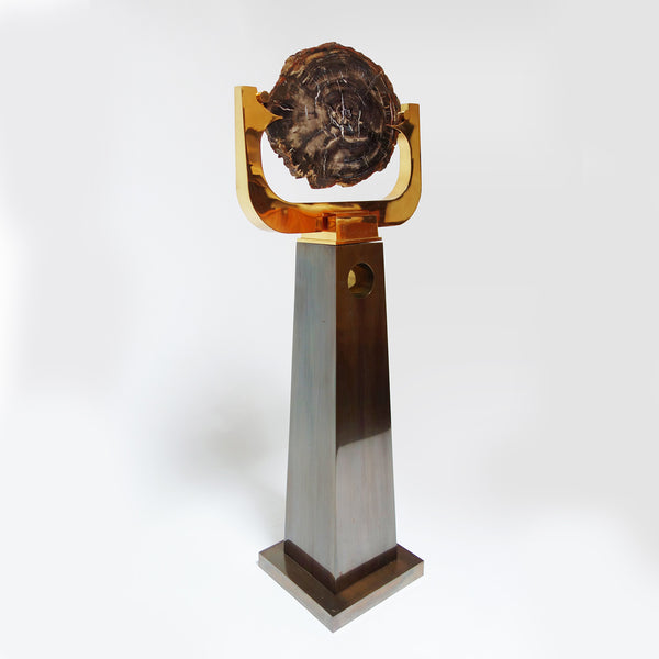 Petrified wood and bronze sculpture