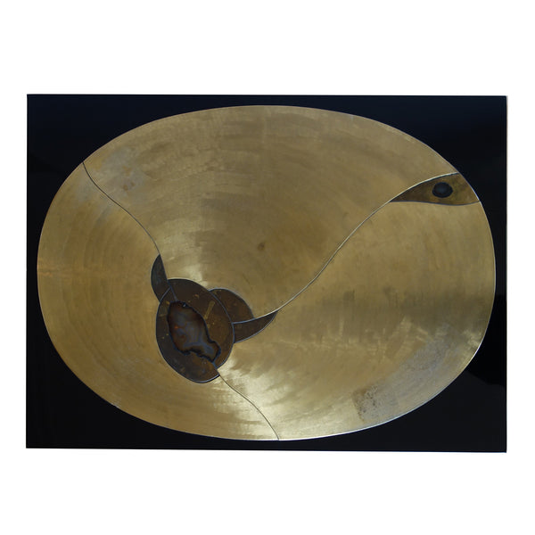 Etched brass with polished agate inlay coffee table by Fernand Dresse