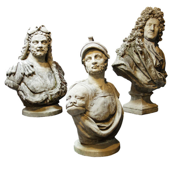 Set of three 19th century busts by F. Roucourt