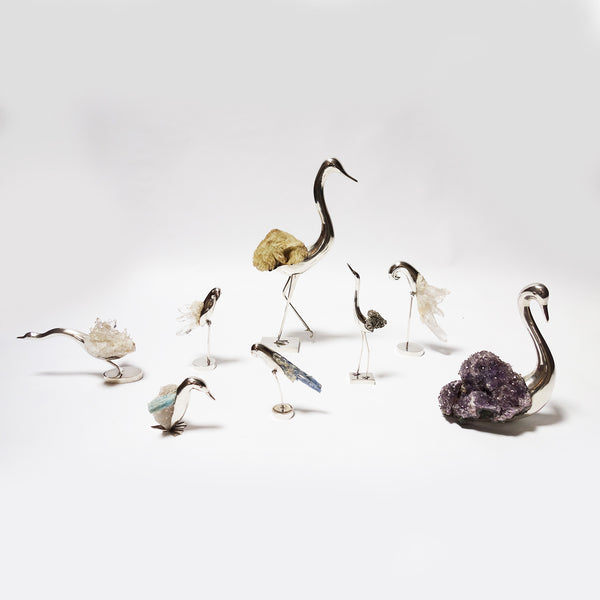 Set of sterling silver birds with semi precious stones by Grupo Gal