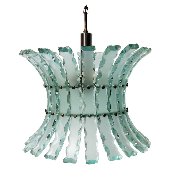 Broken Glass Hanging Light Fixture in the Style of Fontana Arte