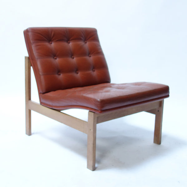 Pair of Cognac Leather Chair by Ole Gjerlov-Knudsen & Torben Lind