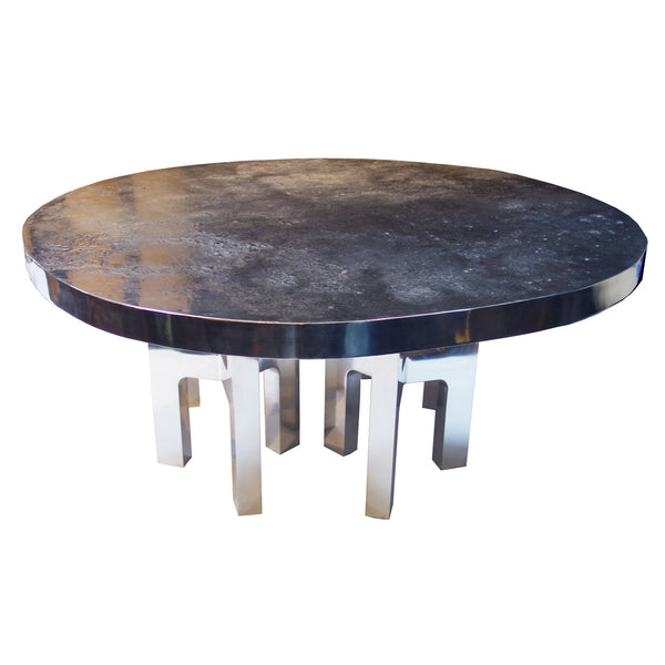 "Aluminum Dining Room Table, Model ""Moon Relief"" by Ado Chale"